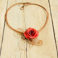 Red Rose Necklace, Red Necklace, Floral necklace, Roses necklace, Cottage Chic Jewelry, Romantic gift, Valentine's day gift , Red rose gift
