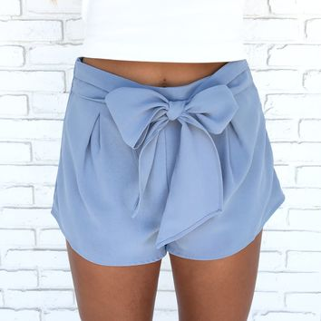 Claire Bow Shorts In Blue