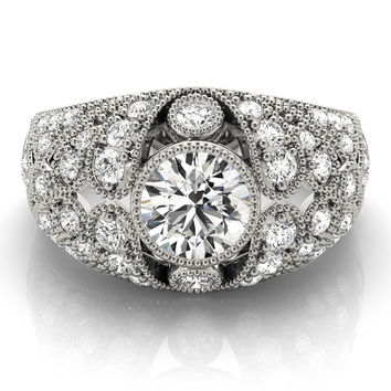 Engagement Ring -Vertical Three Stone Vintage Diamond Engagement Ring-ES2125