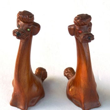 Vintage Poodle Figurines Faux Wood Finish and Rhinestone Eyes