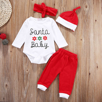 Cute Newborn Baby Girls Boy Clothes Set First Christmas Clothes Romper Pants Hat Outfit Xmas Clothing 4PCS