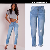 Ripped Holes Rinsed Denim Denim Boyfriend Cropped Pants [6365916868]