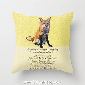What Does the Fox Say 16x16 Throw Pillow Cover Quote Yellow Orange Home Couch Art Wildlife Foxy Song Lyrics Kids Children Nursery Neutral