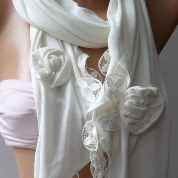 White  - Elegance Shawl / Scarf with Lace Edge