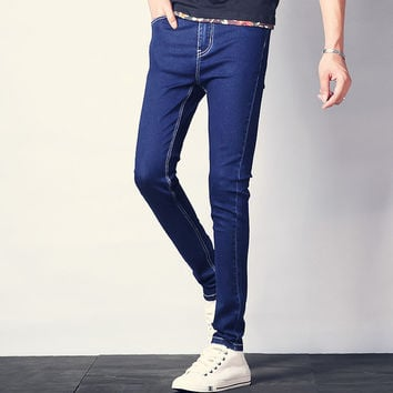 Mens Slim Dark Blue Jeans