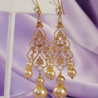 Yellow Gold Chandelier Earrings with Swarovski Pearls