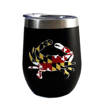 Maryland Full Flag Crab (Black) / Stemless Wine Tumbler