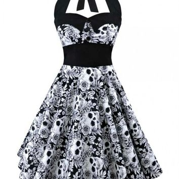 Retro Vintage Style Sleeveless 3D Skull Floral Printed Summer Women Dress Halter Plus Size Party Casual Dress