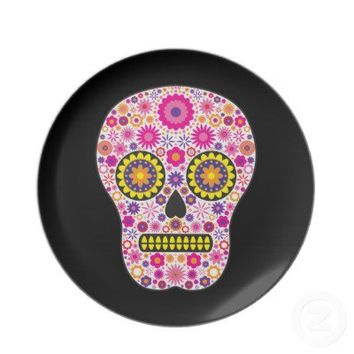 Pink Mexican Sugar Skull Dinner Plate from Zazzle.com
