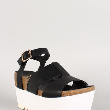 Privileged Strappy Lug Sole Flatform Wedge Footbed Sandal