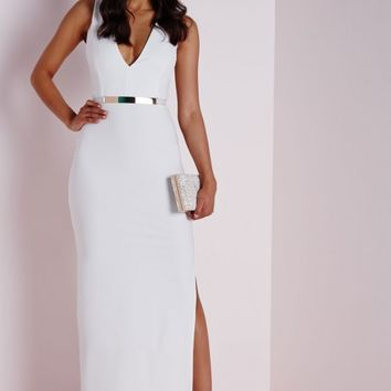 Missguided - Sleeveless Crepe Maxi Dress White