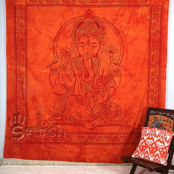 Lord Ganesha Hippie Tapestry,Hippie Wall Hanging,Indian Bedspread Bed Cover Throw Cotton Hippie Coverlet,Bohemian Blanket,Ethnic Home Decor