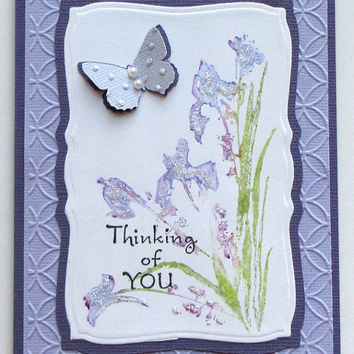 Watercolor flower card, thinking of you, lavender purple, hand stamped, glittered, elegant, butterfly, embossed, handmade