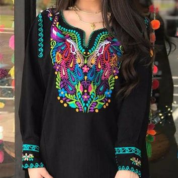 Amazing Mexican Peacock Embroidered Blouse-Black