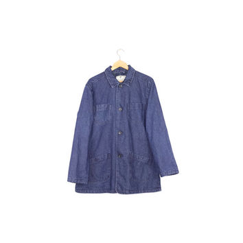 flannel lined denim barn coat / work jacket / workwear / L -XL