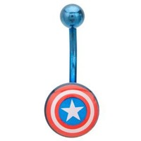 Metallic Captain America Shield Surgical Steel Belly Ring