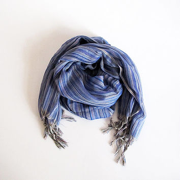 Blue Scarf, scarves,   tassel, Women's Fashion Accessories, Long scarf christmas gift, shawl, For Women, Woman scarf, long scarf