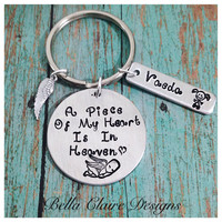 A Piece Of My Heart Is In Heaven Necklace or Keychain - Child Loss- Infant Loss-Pregnancy loss Remebrance Necklace-Miscarriage Jewelry