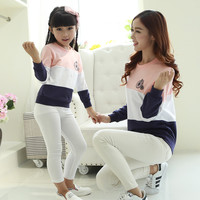 2016 Brand Summer Family Cotton Family Clothing Set Mother And Kids Long-Sleeve T-shirt Clothes Patchwork hoodies l