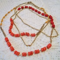 eBlueJay: Long Beaded Coral Necklace Double Strand Gold Tone Costume Jewelry