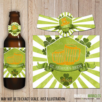 St. Patrick's Day beer bottle labels / Digital printable party decorations / Gift for him / Vintage style green St. Patty's day beer labels