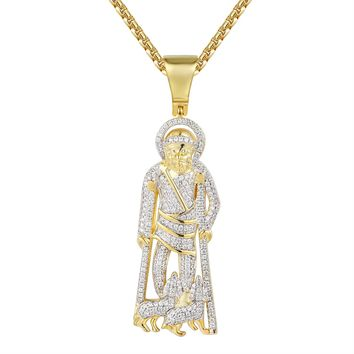St.Lazarus on Crutches Pendant with dogs Iced Out Pendant