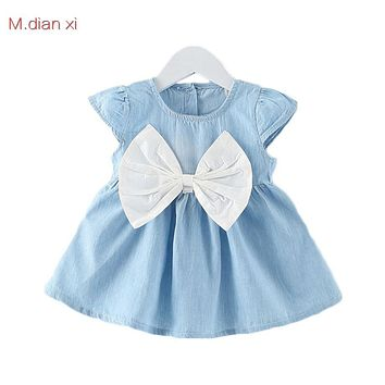 New summer Girl Cowboy sleeveless bowknot dress party all-match lovely princess fashion style 0-3