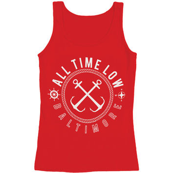 All Time Low Women's  Sea Sick Womens Tank Red Rockabilia