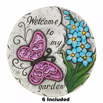 Set of 6 Pink Butterfly Garden Stepping Stones