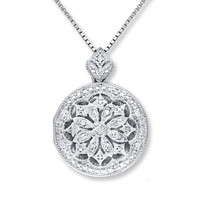 Locket Necklace 1/10 ct tw Diamonds Sterling Silver