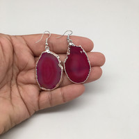 69cts Agate Druzy Slice Geode Earring Electroplated Silver Plated @Brazil,C735
