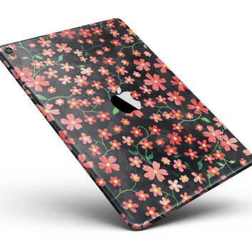 "Flowers with Stems over Black Watercolor Full Body Skin for the iPad Pro (12.9"" or 9.7"" available)"