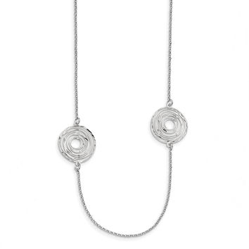 Sterling Silver Rhodium Plated Diamond Cut Circles 36 IN Necklace QG4525