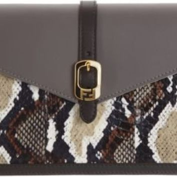 Fendi Snakeskin Chameleon Large Wallet Clutch