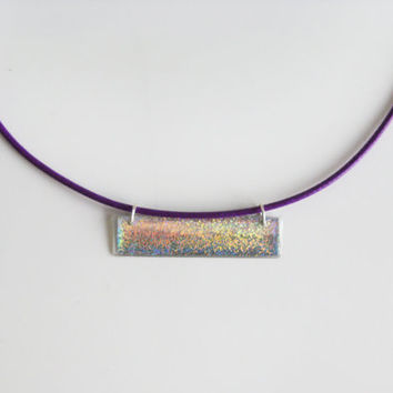 Holographic Bar Necklace, Horizontal Necklace, Geometric Pendant, Minimalist Purple Pendant, Womens Resin Pendant, Short Simple Necklace