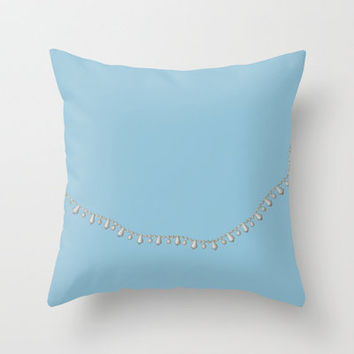 Vintage Beads on Blue Throw Pillow by Project M