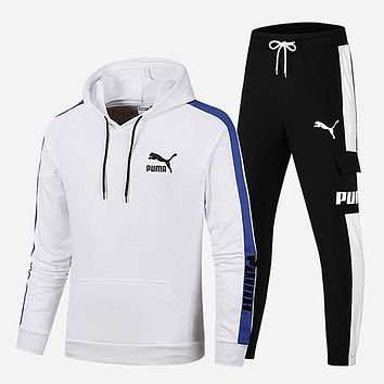 PUMA 2018 winter new men's casual wear thick warm hooded sweater two-piece white