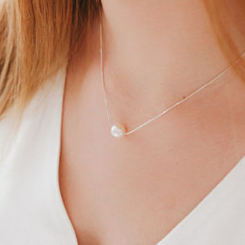 Single pearl necklace • Floating pearl necklace • Gold White Pearl Necklace • Weeding Gifts • Layered• Dainty • GlimmerSpellDesigns