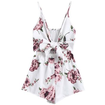 Kenancy Women Playsuits Rompers Bohemian Floral Print Plunge Spaghetti Strap Rompers Jumpsuits Summer Women Beach Playsuits
