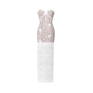White Lace Long Fringed Strapless Dress