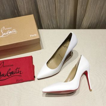 CL Christian Louboutin Women Trending Leather white High Heel Shoes Best Quality
