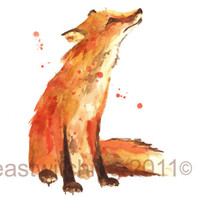 Sweet Red FOX Print  8x10inches  As seen in Easy by eastwitching