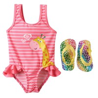 Wippette Stripe Giraffe One-Piece Swimsuit - Baby Girl, Size: