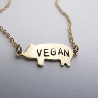Vegan Necklace // 14kt Gold Chain Pig Necklace // Animal Rights // No Cages // Pig Jewelry // Activist Jewelry // Freedom for ALL
