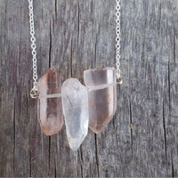 Crystal Quartz Bar Necklace | Crystal Ladder Necklace | Pink Raw Crystal Jewelry | Boho Jewelry |Gemstone Bar | Quartz Bar Necklace |