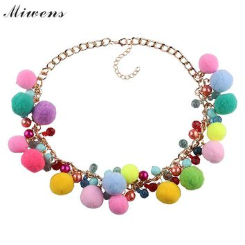 Miwens Brand New Pom pom choker Necklace For Women Multicolor Boho Fur ball Statement necklace Girls Wedding party Jewelry 8833