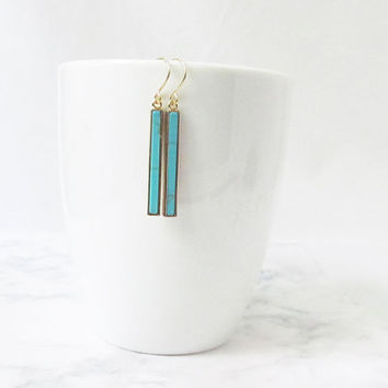 turquoise bar earrings, turquoise earrings, bar earrings, gold turquoise earrings, minimalist earrings