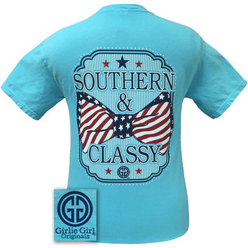 Girlie Girl Originals Southern Classy USA Bow Comfort Colors Lagoon Blue T Shirt