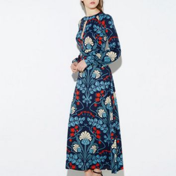 New national style retro print dress dress