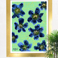 Gold Dust Blues Floral Abstract Watercolor Giclee Print Original Artwork